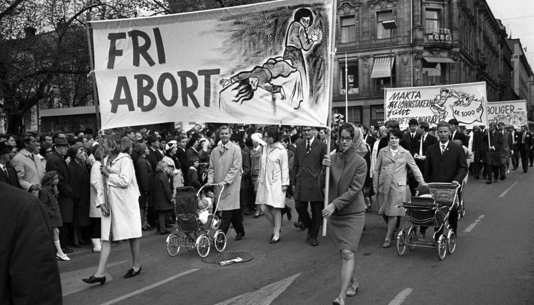 Kampen om selvbestemt abort stod sterkt på 1960- og 70-tallet og endte med at Stortinget vedtok lov om selvbestemt abort i 1975.  (Foto: NTB Scanpix)