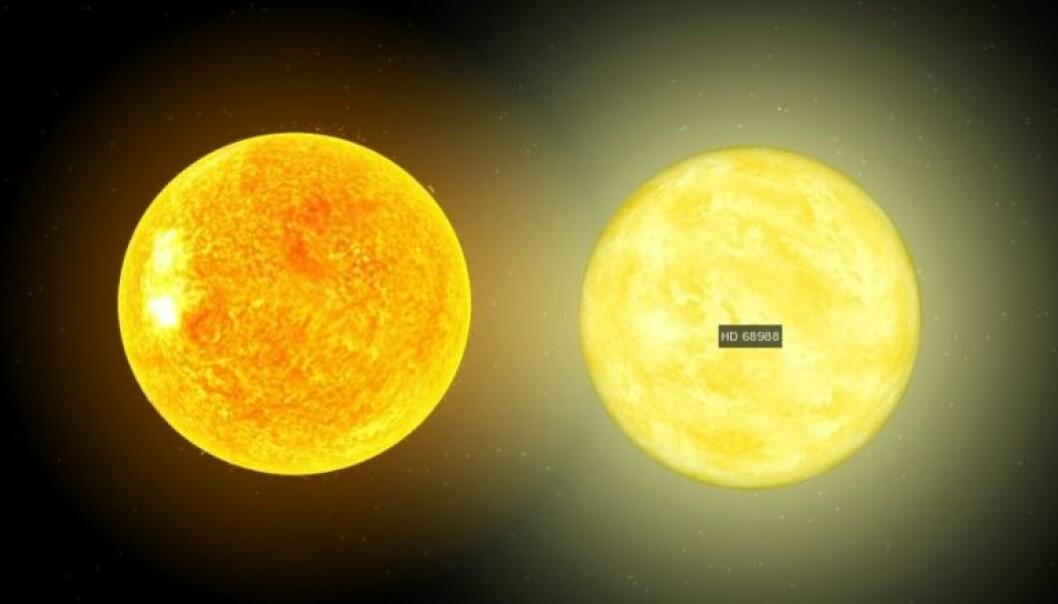En datategning av vår sol til venstre, og til høyre er stjernen som vi skal gi navn til. De er tegnet ved siden av hverandre for å vise størrelsen. (Illustrasjon av NASA)