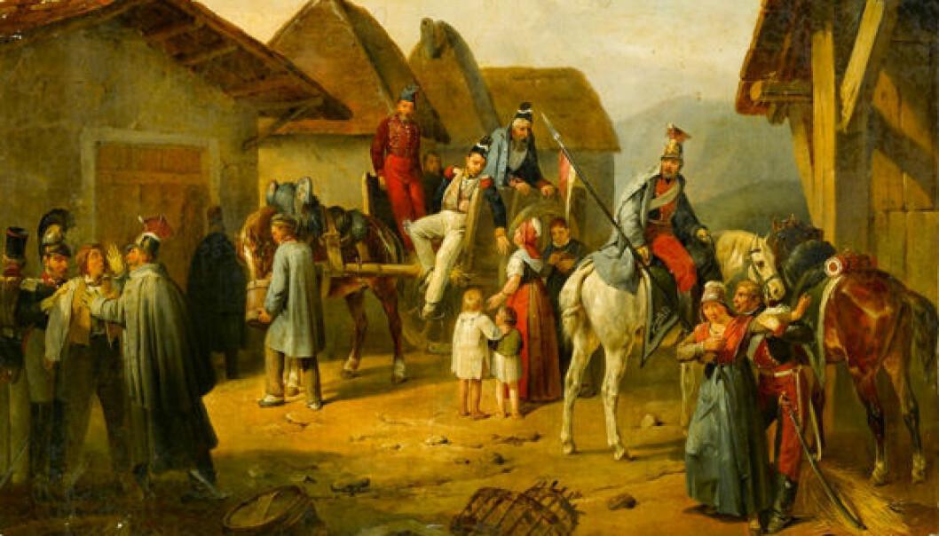 I fiendens land er det smart å kunne skille sivile fra soldater. Her et maleri av Adam Albrecht. (Foto: Wikimedia Commons)