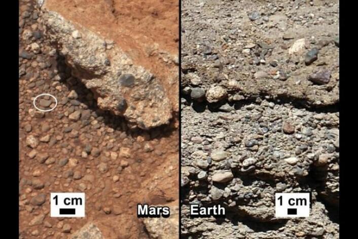 Rester av elveleie på Mars, bildet er tatt av Curiosity. (Foto: NASA/JPL-Caltech/MSSS and PSI)