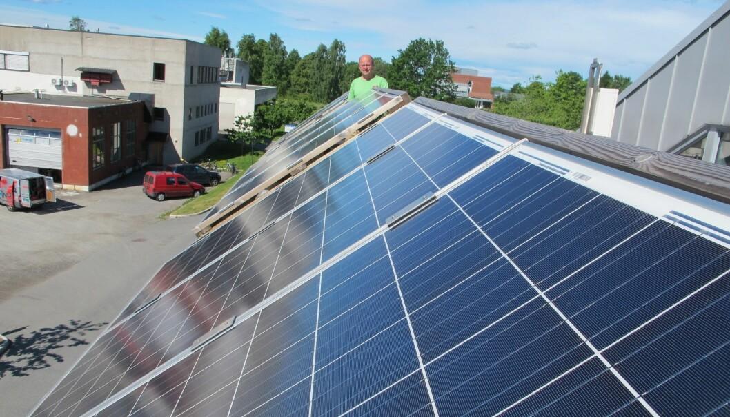 Forsker Espen Olsen ved solcelleanlegget ved NMBU. (Foto: Frøydis Kvaløy)