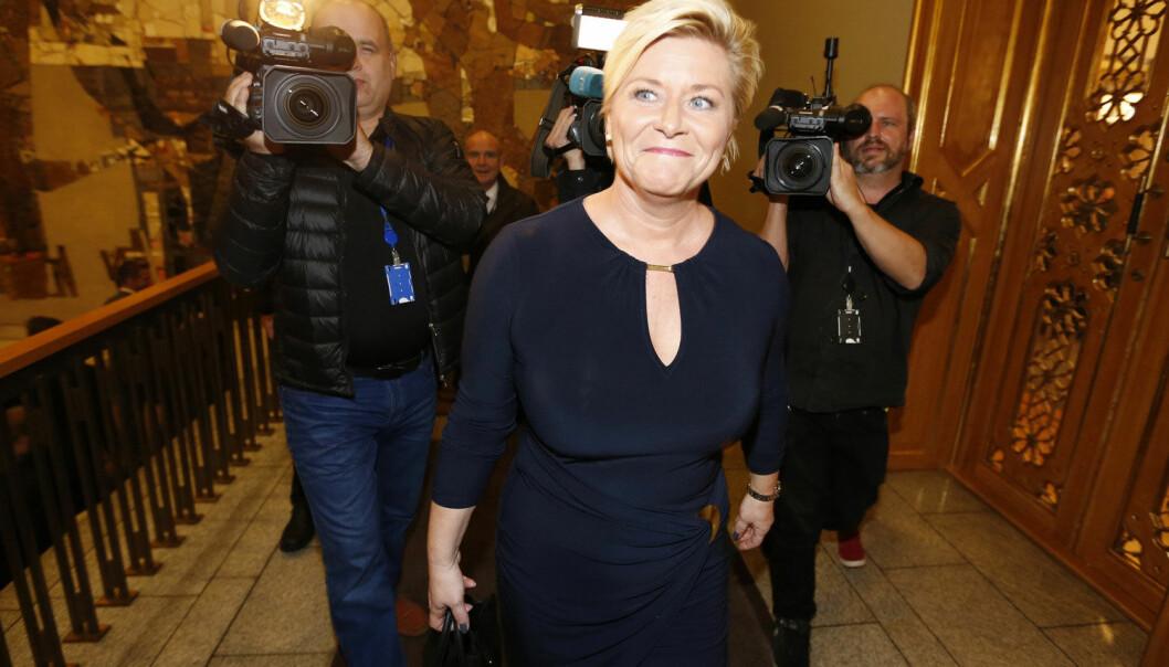 Statsbudsjettet for 2015 ble lagt frem av finansminister Siv Jensen på Stortinget onsdag morgen. (Foto: Lise Åserud, Scanpix)
