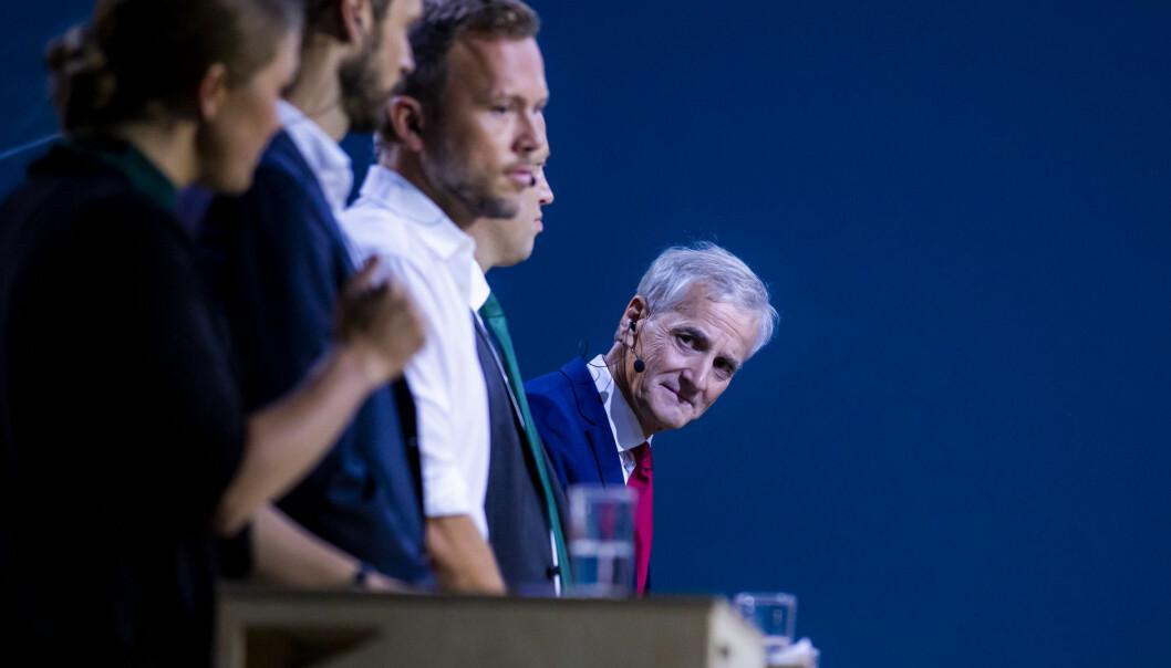 Arbeiderpartiets leder Jonas Gahr Støre i debatt med øvrige partiledere. Ap ligger an til å miste velgere ved mandagens kommunevalg. (Foto: Håkon Mosvold Larsen / NTB scanpix)