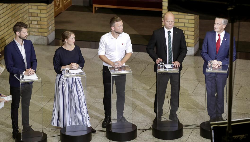Venstresiden samlet går fram under årets kommunevalg, selv om Ap og leder Jonas Gahr Støre (t.h.) er valgets store taper. Totalt får Rødt, MDG, SV, Sp og Ap 55,7 prosents oppslutning (Foto: Vidar Ruud, NTB scanpix)