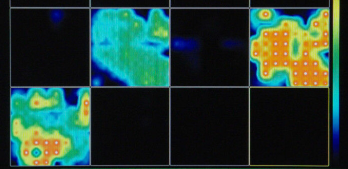 Forskerne fulgte med på den elektriske aktiviteten i minihjernene. Jo rødere farge, jo mer aktivitet. Svart farge betyr null aktivitet. (Foto: Muotri Lab/UCTV)