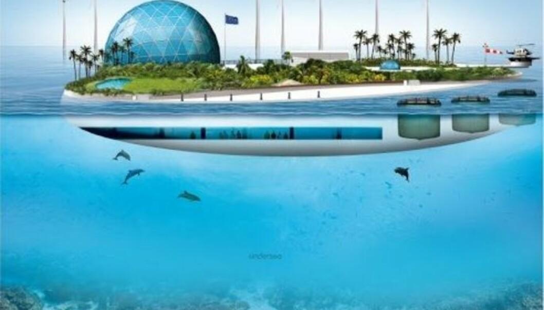 En flytende øy, drevet på fornybar energi, er målene til EU-prosjektet Morgendagens hav.  (Illustrasjon: TROPOS-prosjektet, EU)