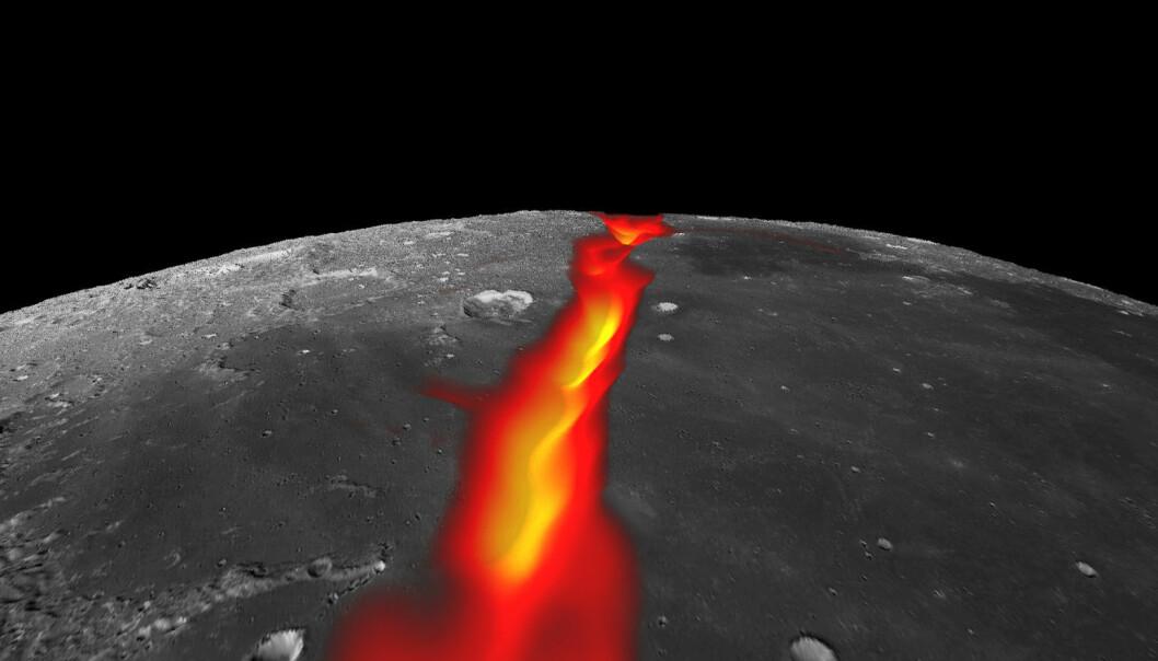 Utsikt mot sør ut over Stormenes hav på månen. Slik kan den vestre riftdalen ha sett ut da den ble fylt av lava. Dette bildet kombinerer data om tyngdekraften til månen fra GRAIL-sondene med en bildemosaikk tatt av Lunar Reconnaissance Orbiter. (Bilde: NASA/Colorado School of Mines/MIT/JPL/Goddard Space Flight Center)