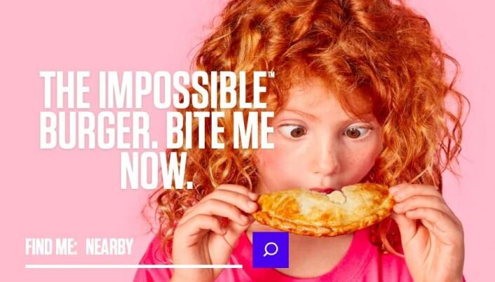Selskapet Impossible Foods satser på kjøttfritt kjøtt. (Skjermdump fra nettsiden.)