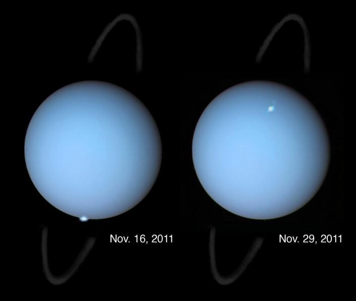 I 2011 fotograferte romteleskopet Hubble aurora på planeten Uranus, ved den magnetiske polen som vender mot sola. Siden Uranus går i bane langt utenfor jorda, vil nattsiden av planeten alltid vende vekk fra jorda. En tilsvarende aurora her kan bare fotograferes av en romsonde som passerer planeten.  (Foto: NASA, ESA og L. Lamy, Observatory of Paris, CNRS, CNES)