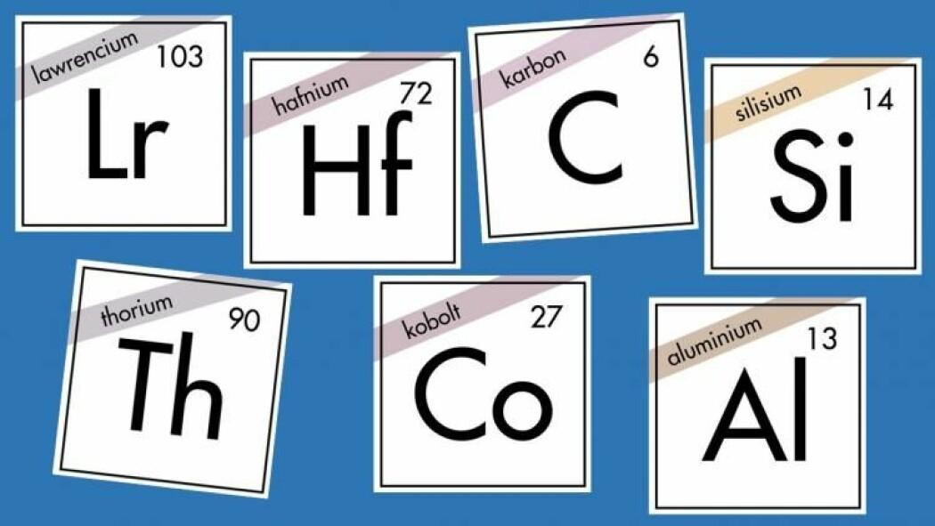 Lawrencium, hafnium, karbon, silisium, thorium, kobolt eller aluminium. Hvilket grunnstoff er din favoritt? (Illustrasjon: Eivind Torgersen/UiO og Solveig Borkenhagen)