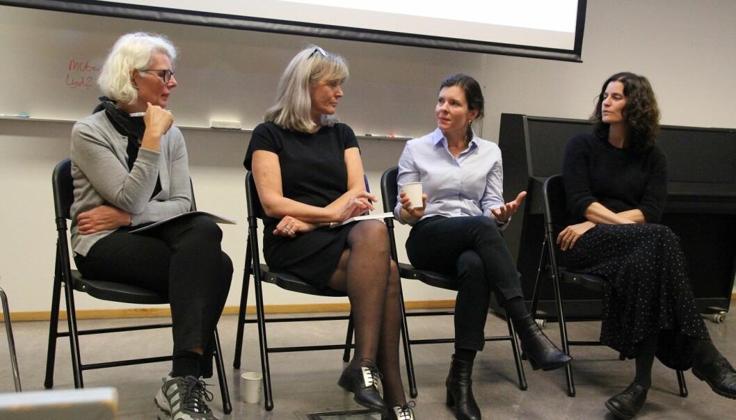 – Hvor går grensen mellom brukermedvirkning og overstyring fra brukerne? Inger Marie Lid, Mia Vabø, Katerini Storeng og Marte Qvenild diskuterte dette og andre temaer rundt åpenhet i forskningen nylig. (Foto: Elin Fugelsnes)