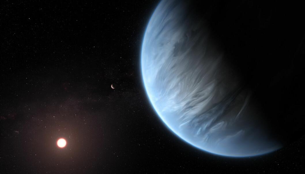 Slik forestiller en kunstner seg planeten K2-18b, i bane rundt en rød dverg og med en søster-planet i bakgrunnen. (Illustrasjon: ESA/Hubble, M. Kornmesser)