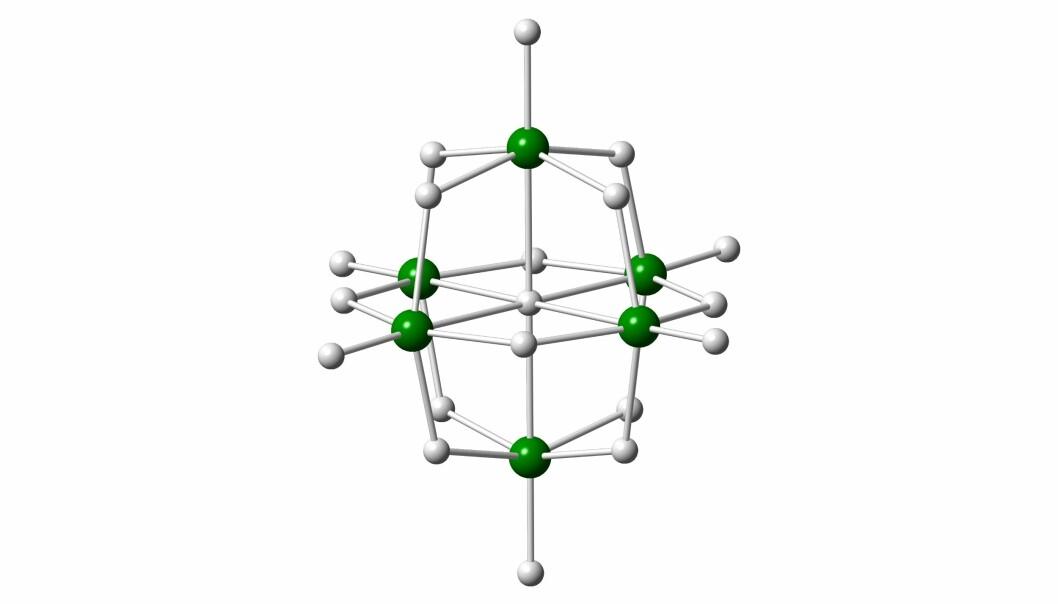 Lindqvist-ionet består av niob-atom (grøne kuler) forbundne av oksygen-atom (kvite kuler). (Illustrasjon: Henrik Friis, NHM)