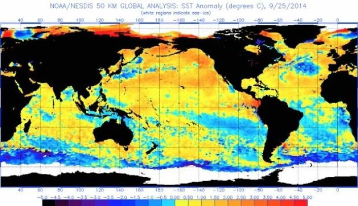 Situasjonsrapport fra planeten Tellus: Varmt på den nordlige halvkule. Nesten El Ninjo i Stillehavet. Og kaldt ved iskanten i sør. (Bilde: NOAA)