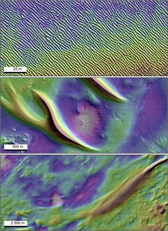 Tre landformer beskrives i forskningsartikkelen: megarifler, sandbølger og sandbanker. Her ser du alle tre. (Bilde fra forskningsartikkelen: Bellec m.fl. 2019/Kartverket/MAREANO)