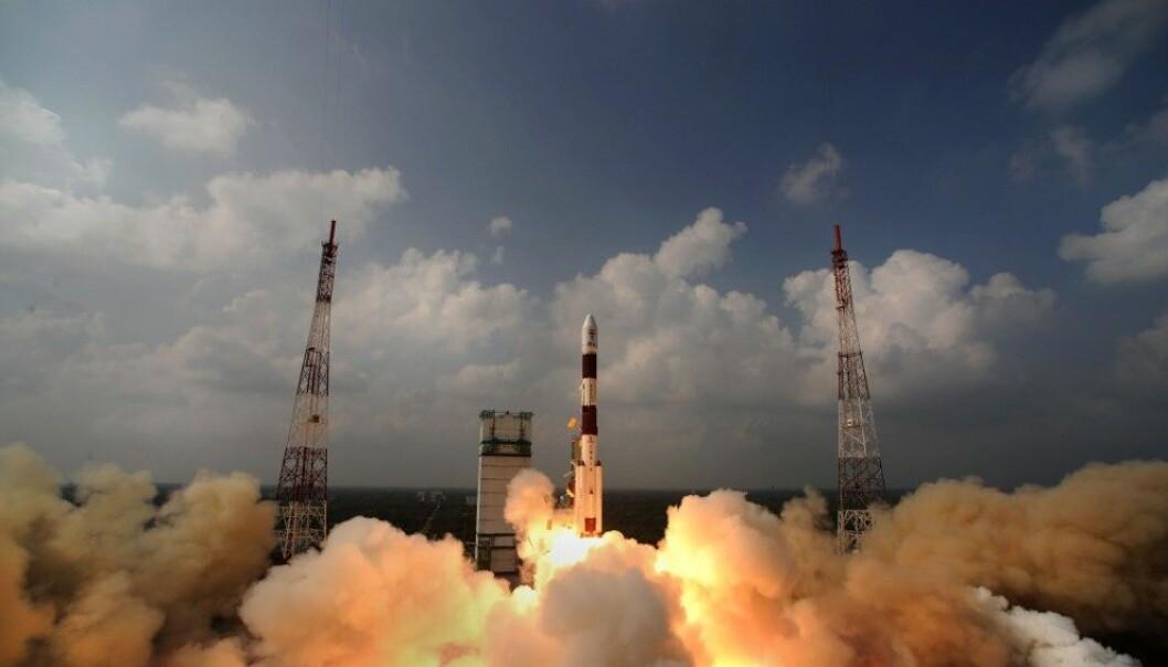 Mars Orbiter Spacecraft ble skutt opp 5. november i fjor, nå har Mangalyaan nådd Mars. (Foto: ISRO, AFP)