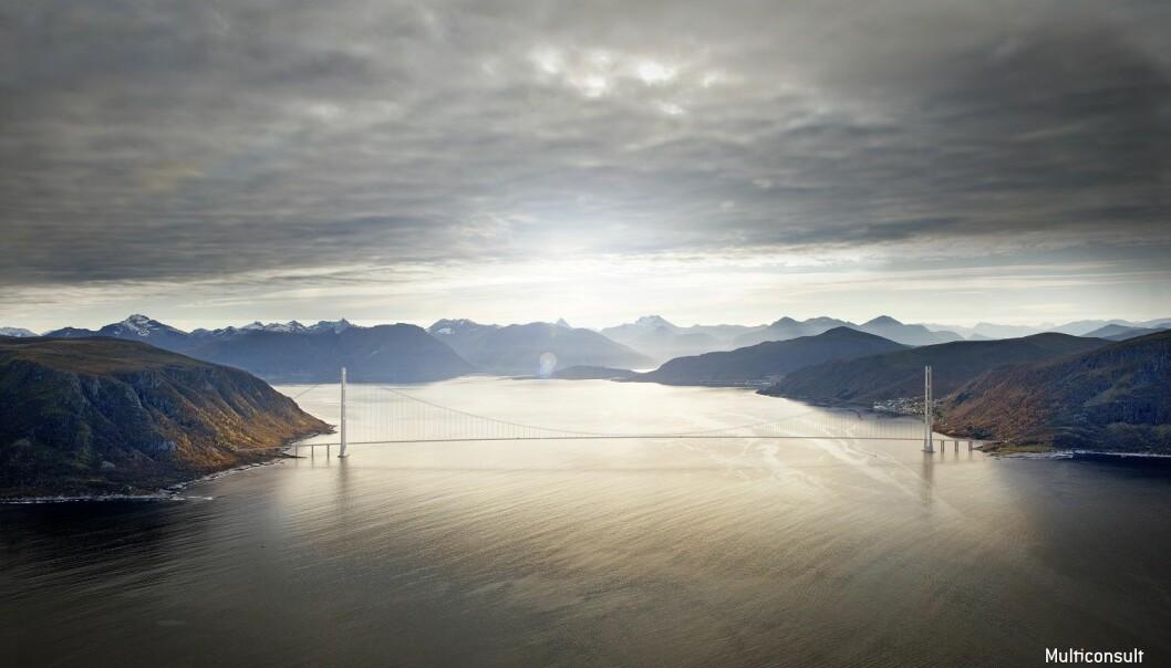 En hengebru over Sulafjorden vil ha en spennvidde på om lag 3000 meter. Alle beregninger må stemme for at den skal kunne tåle været på Vestlandet. (Illustrasjon: Statens vegvesen / Vianova / Baezeni)