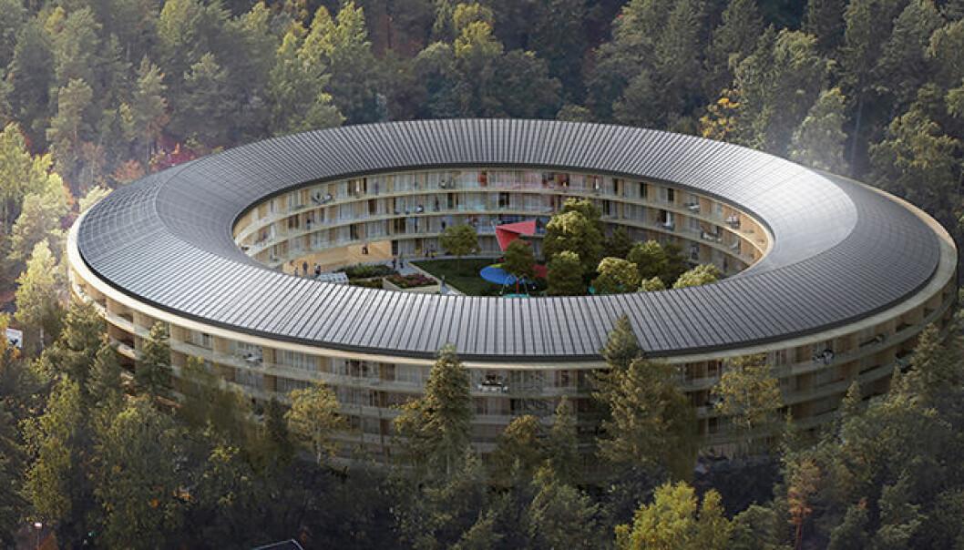 Ett av fire konkrete prosjekter med bygging av nabolag som går i pluss, er et sirkelformet leilighetsbygg med solceller på taket på Ammerud i Oslo. (Illustrasjon: Code arkitektur).