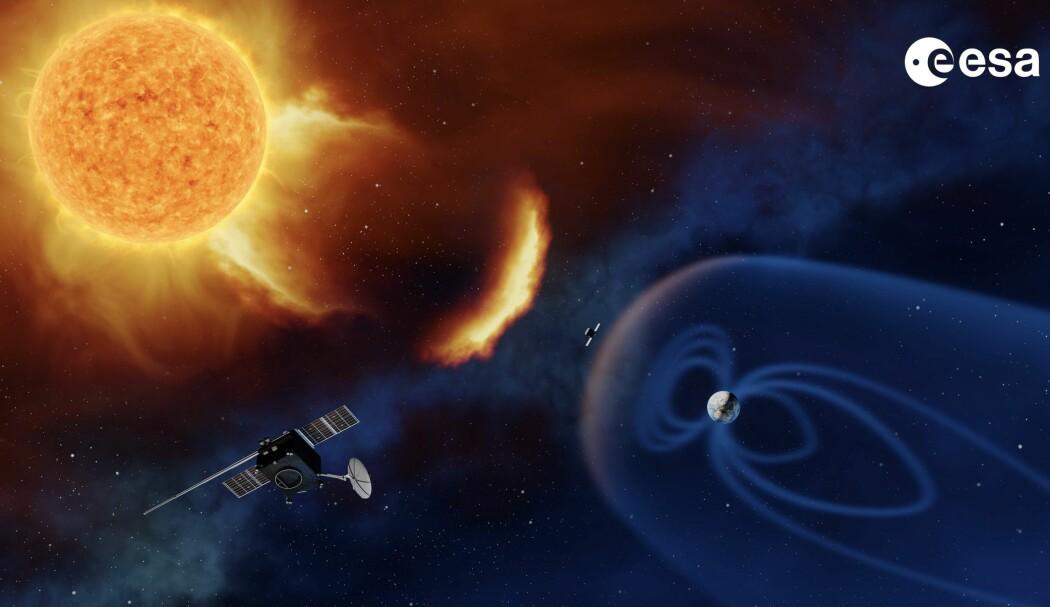 Vi skulle gjerne hatt en romsonde i L5 for å varsle solstormer sammen med en kollega i L1. (NB: Avstand og størrelse for sola og Jorda er ikke korrekt i denne figuren). (Bilde: ESA)