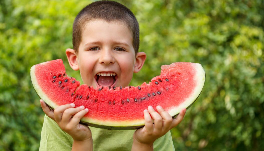 Nøkkelen til å løse fremtidens fedmeepidemi ligger i å råde barn til å spise mer grønnsaker og frukt, mente en av foredragsholderne. (Foto: Microstock)