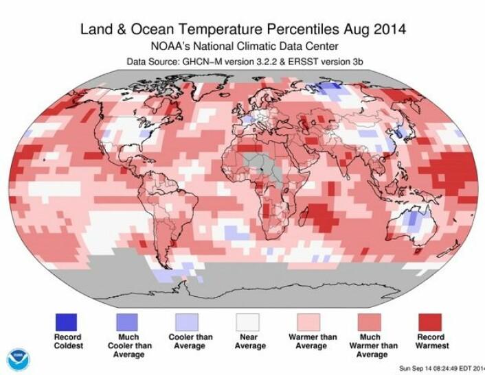 Det var store rekordvarme områder vest i Stillehavet, ved Madagaskar og i Øst-Sibir i august.