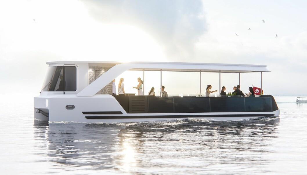 Snart skal en ferge som denne frakte passasjerer over Tunissjøen. Utviklerne bak konseptet mener løsningen også egner seg i Norge og resten av Europa. (Illustrasjon: Eggs Design).