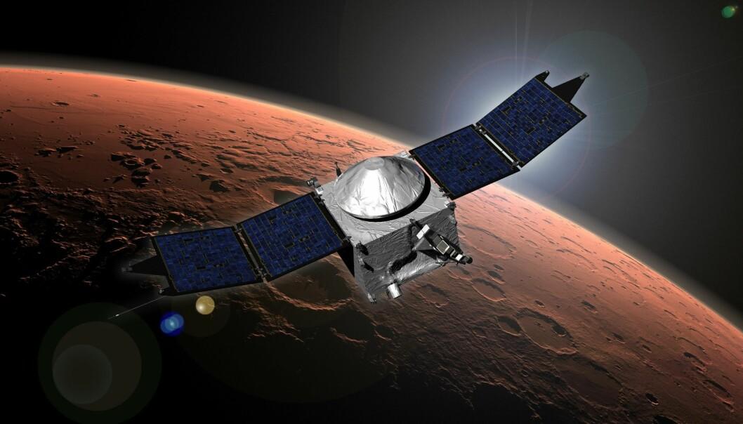 Mars Atmosphere and Volatile EvolutioN (MAVEN) skal utforske den tynne atmosfæren til Mars, for å finne ut mer om hvordan den tykkere atmosfæren og de store mengdene flytende vann som tidligere trolig fantes på planeten ble borte. (Illustrasjon: NASA)