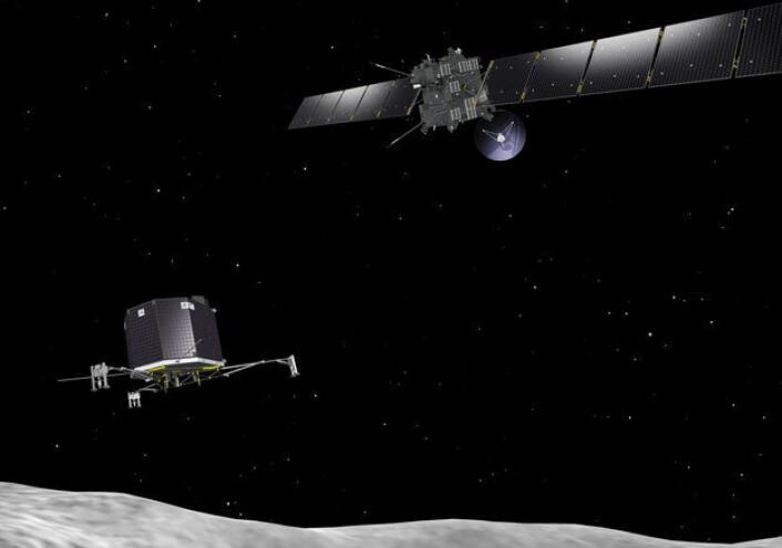 ESAs kometjeger Rosetta (t.h.) setter sonden Philae fri for at de skal alnde på kometen 67P. (Foto: ESA)