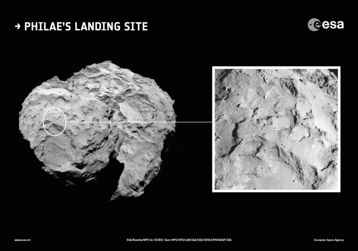 Landingsstedet for Rosettas sonde Philae ligger på toppen av kometen 67Ps minste del (Foto: ESA/Rosetta/MPS/UPD/LAM/IAA/SSO/INTA/UPM/DASP/IDA)