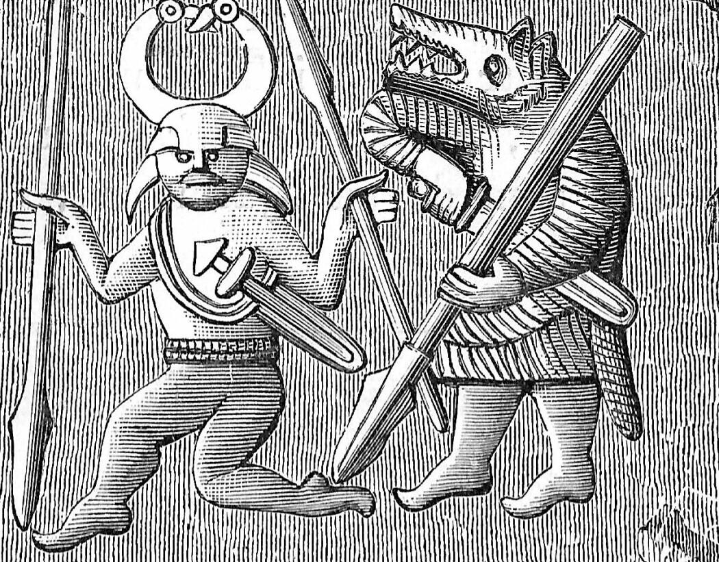 Dette bildet stammer fra mellom år 550-800 og skal ifølge snl.no forestille Odin (t.v) og en berserker: en kriger med blodtørstig aggresjon på slagmarken. (Kilde: Oscar Montelius, Om lifvet i Sverige under hednatiden, Wikimedia commons)