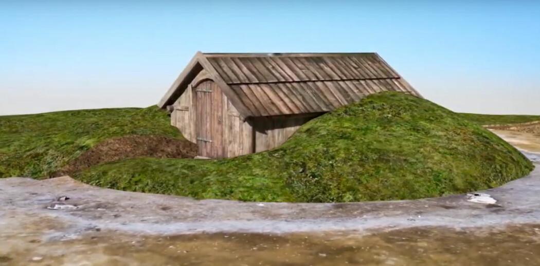 Arkeologer har funnet avtrykk og rester av huset på et jorde i Trøndelag. Bildet er en illustrasjon fra en video som viser hvordan det kan ha sett ut. (Skjermdump fra video: NTNU Vitenskapshuset)