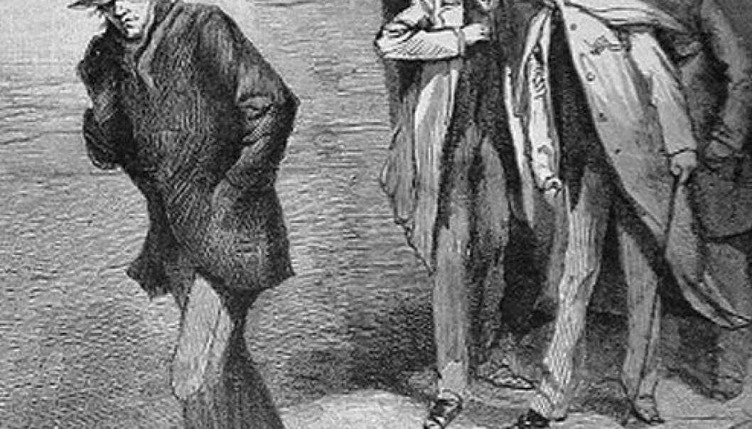 """""""En mistenkelig karakter"""", illustrasjon fra London-avis i 1888. (Bilde: Offentlig eiendom)"""