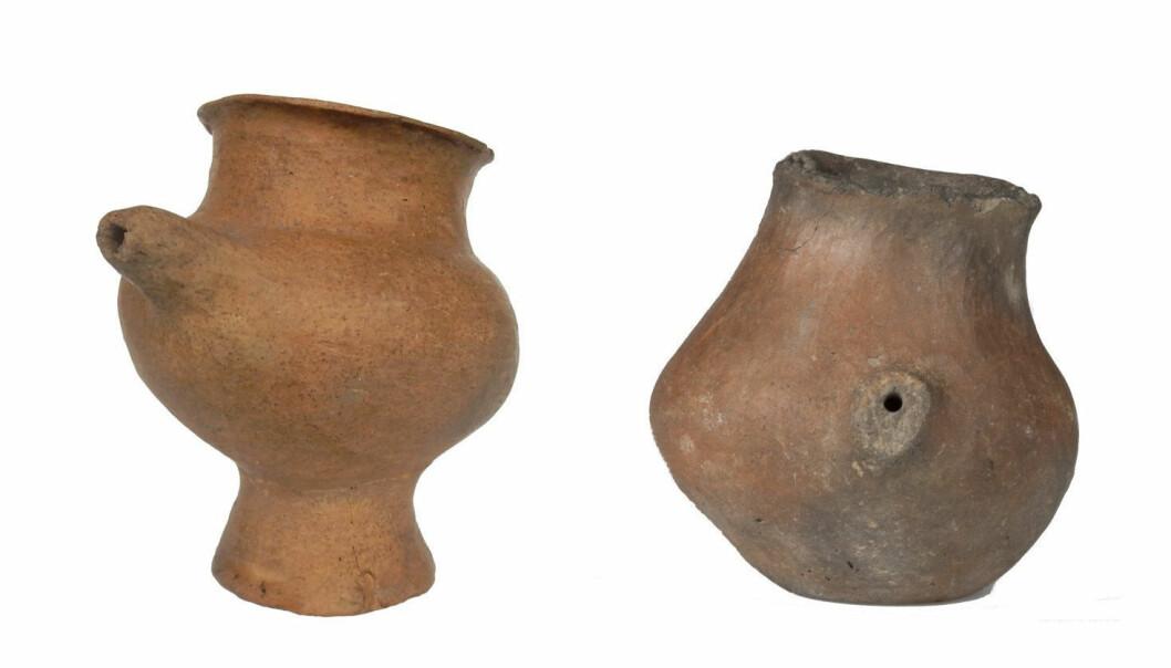 Karakteristiske kopper med en liten drikketut. Koppene er funnet i Østerrike, og er datert til rundt år 1200– 800 f. Kr. (Foto: Katharina Rebay-Salisbury)