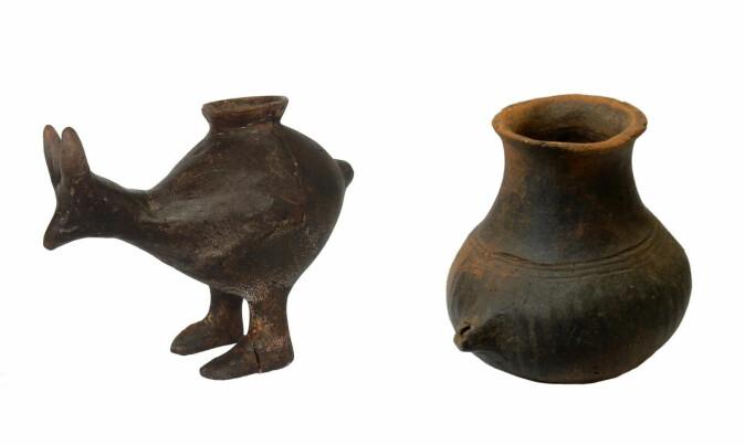 Tutekoppene har ulik form og størrelse. Noen er formet slik at de ligner dyr. Disse koppene er funnet i Østerrike, og er datert til rundt år 1200 - 800 f. Kr. (Foto: Katharina Rebay-Salisbury)