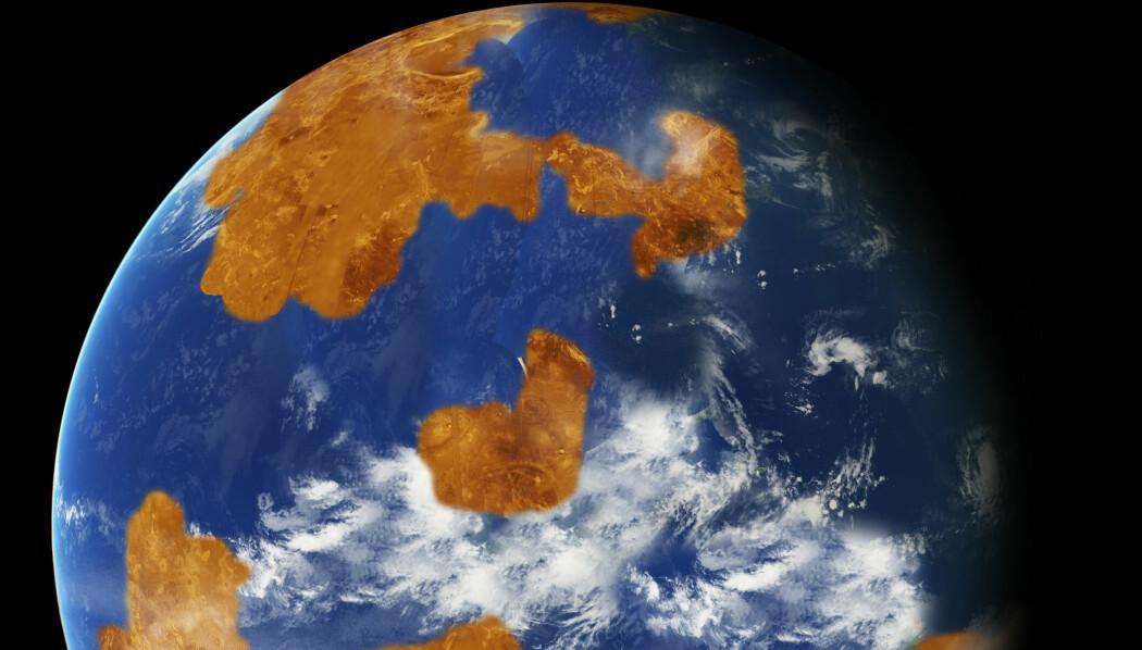 Venus er i dag et utrivelig sted å være. Men forskere mener å kunne vise at planeten en gang har hatt et temperert klima og kanskje også flytende vann. (Illustrasjon: NASA)