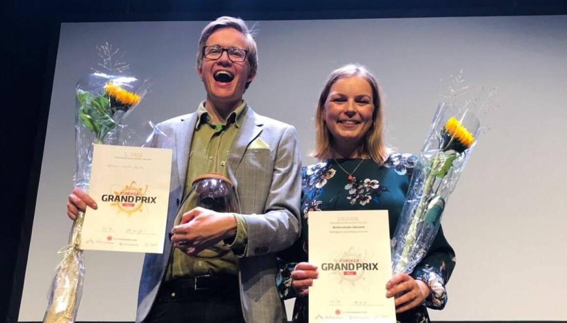 Halvor Høen Hval og Marthe Lefsaker Sakrisvold kom på henholdsvis første og andre plass i Forsker Grand Prix i Oslo og Akershus. (Foto: Yngve Vogt).