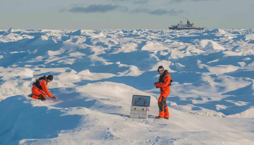 Sascha Flögel og Johannes Lemburg samler prøver av snø til forskning på plastforurensing i Arktis med forskningsskipet Polarstern i bakgrunnen.  Bildet er fra et tidligere tokt, Polarstern ROBEX Expedition Arktis, sommeren 2017. (Foto: Alfred Wegener Institute, Esther Horvath)