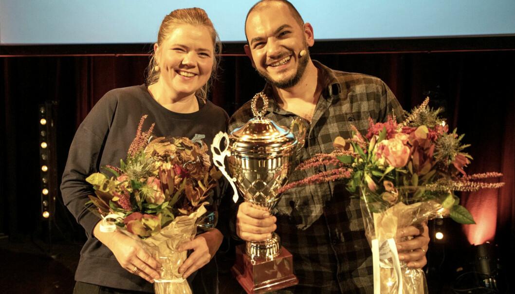Kristina Junttila Valkoinen og Joseph Diab reiser til den nasjonale finalen i Forsker Grand Prix. (Foto: David Jensen)