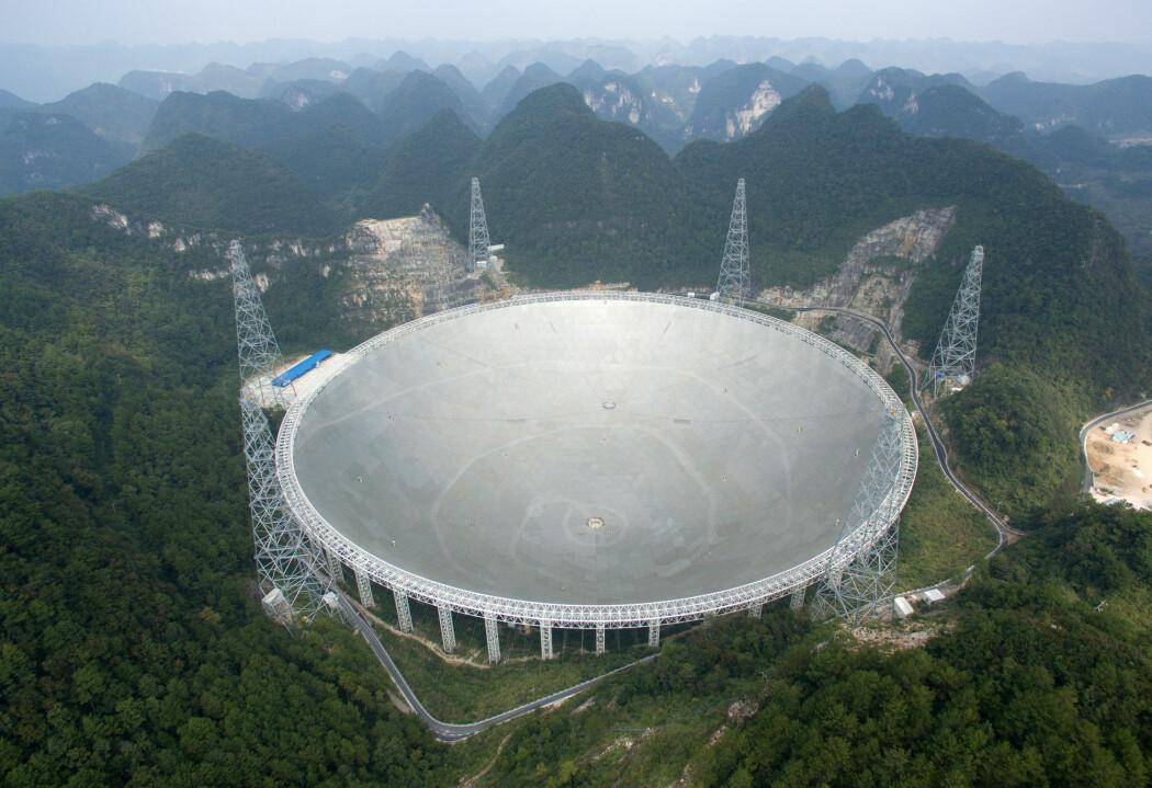 Etter grundige tester er FAST-teleskopet klar til bruk. (Foto: China Daily / via REUTERS / NTB Scanpix)