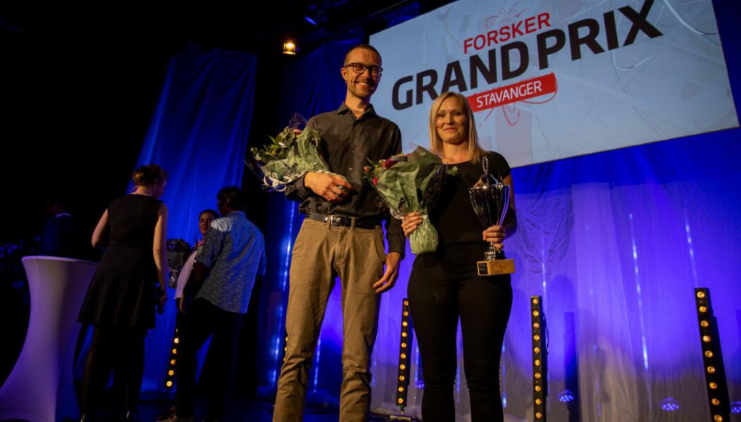 James Thomson og May Linn Auestad går videre til finalen i Forsker Grand Prix. (Foto: Mari Løvås)