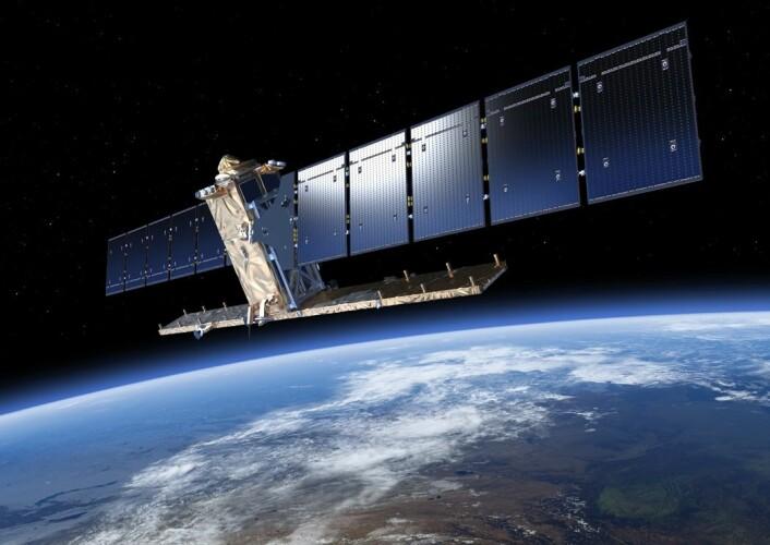 Sentinel-1a brukes til å ta radarbilder av jordoverflaten. Satellitten ble skutt opp i 2014, og i 2016 får den en søster i bane rundt jorden: Sentinel-1B. (Foto: ESA)