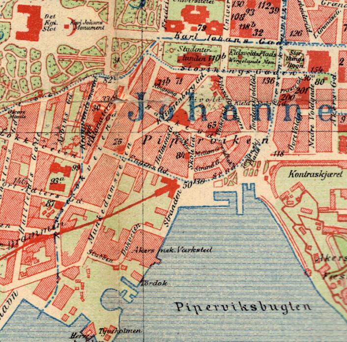 Kart over Piperviken og Ruseløkka, ca. 1900. Bukta heter fortsatt Piperviken i dag, og Aker Brygge ligger i området ved Akers Mekaniske Verksted. (Foto: (Kart: Offentlig eiendom))