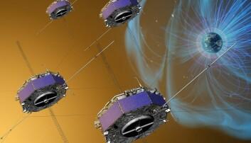Illustrasjon av de fire satellittene som kretser rundt i pyramideformasjon i jordas magnetiske hale. (Illustrasjon: NASA)