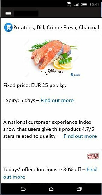 Informasjon om hvordan andre kunder har vurdert produktet ble tatt godt i mot av deltagerne i den norsk-finske studien. (Illustrasjon fra forsøket)