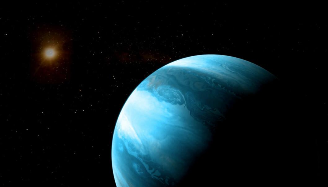 Den nyoppdagede planeten er funnet rundt en rød dverg, den vanligste stjernetypen i Melkeveien. Bare 10 prosent av bekreftede eksoplaneter er funnet rundt denne typen stjerner, og få veldig store. (Illustrasjon: CARMENES/RenderArea/J. Bollaín/C. Gallego)