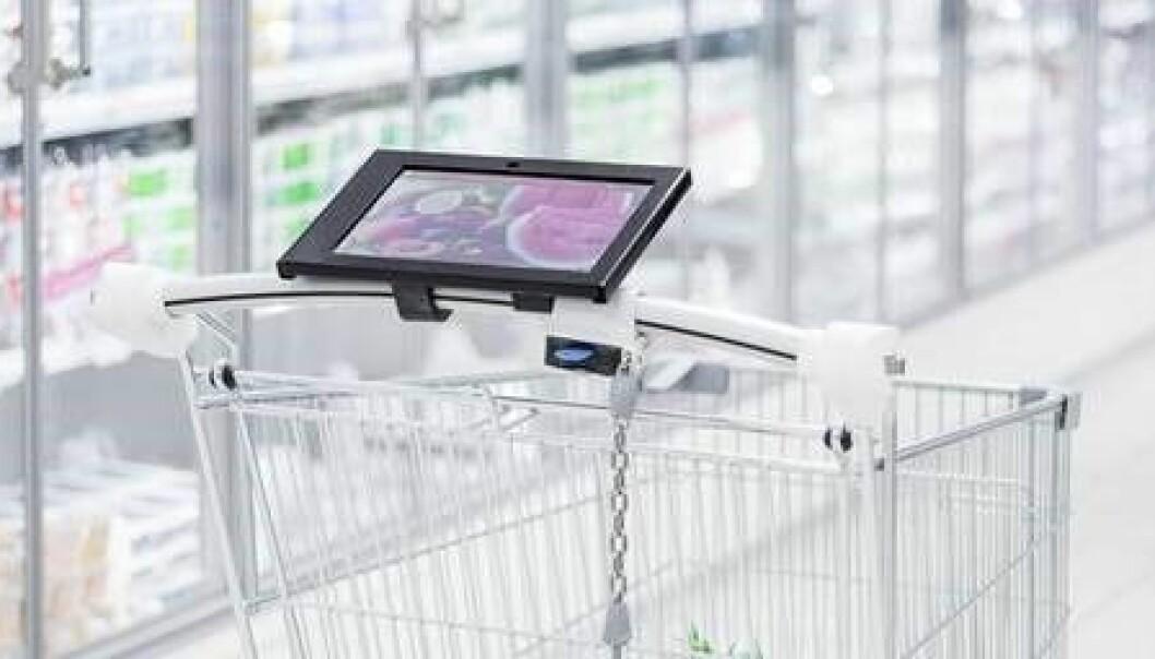 Dette er en såkalt smart-handlevogn i Finland, hvor du kan få oppdaterte opplysninger om varene i butikken. (Foto: Smartcart, Finland)