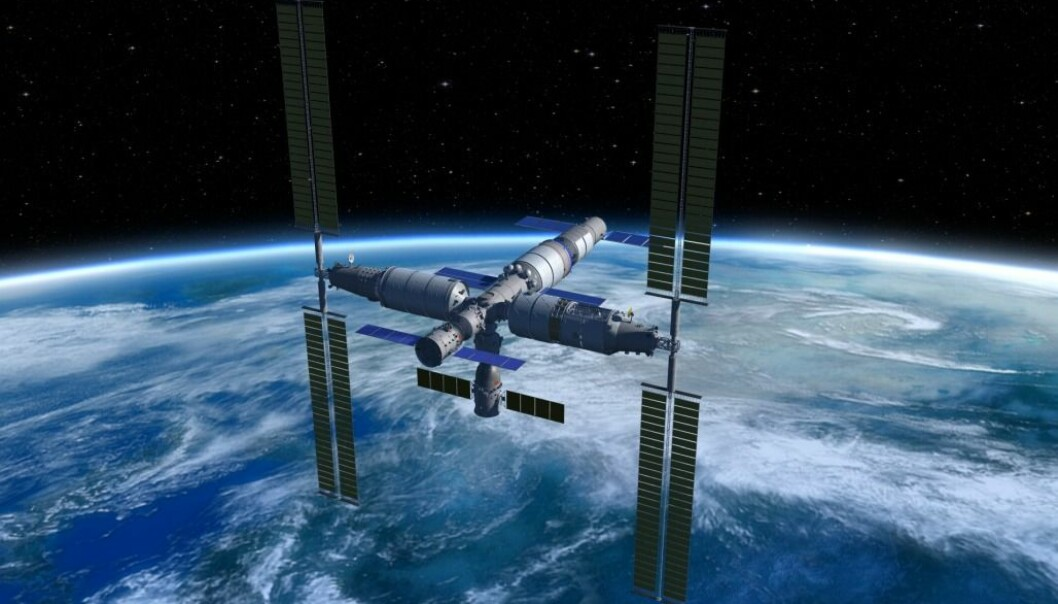 An artist's rendering of the to-be-launched Chinese Space Station. If all goes according to plan, an NTNU based research project will be conducted aboard the space station as early as 2022. (Rendering: China Manned Space Agency)