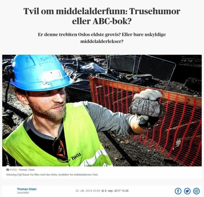 Skjermbilde fra Aftenposten 22. oktober 2014.