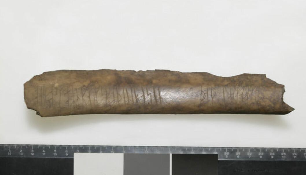Dette benet som ble funnet i Oslogate 6 har en litt spesiell melding, som du kan lese lenger ned. Foto: Eirik Irgens Johnsen