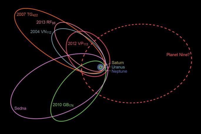 Det er oppdaget flere objekter med rare baner som legger turen langt, langt fra solen. De tre små ringene helt i midten representerer Saturn, Uranus og Neptun sine baner. Her kan man tydelig se hvor langt ut den tenkte Planet 9 befinner seg. Illustrasjonen er basert på simuleringene til Konstantin Batygin og Michael Brown. Her ser man hvor de beregnet at Planet 9 går. (Bilde: nagualdesign)